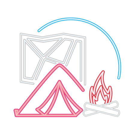 tent bonfire and map camping neon  vector illustration