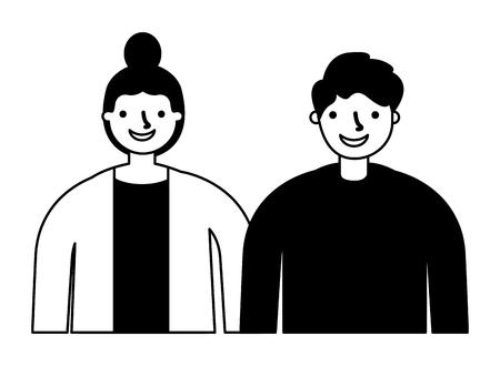 couple characters on white background vector illustration monochrome Vecteurs