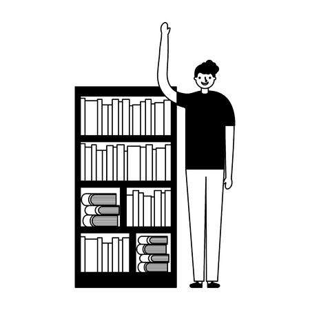 man with bookshelf books literature vector illustration