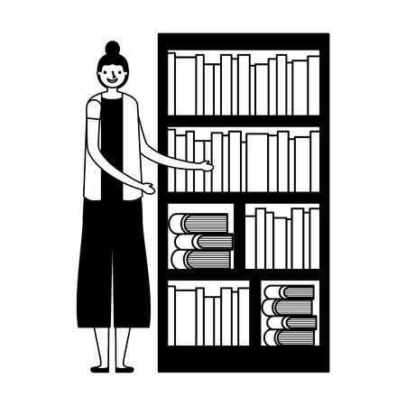 woman with bookshelf books literature vector illustration