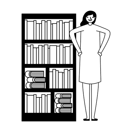 woman with bookshelf books literature vector illustration Foto de archivo - 127353881