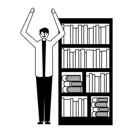 man with bookshelf books literature vector illustration Foto de archivo - 127353883