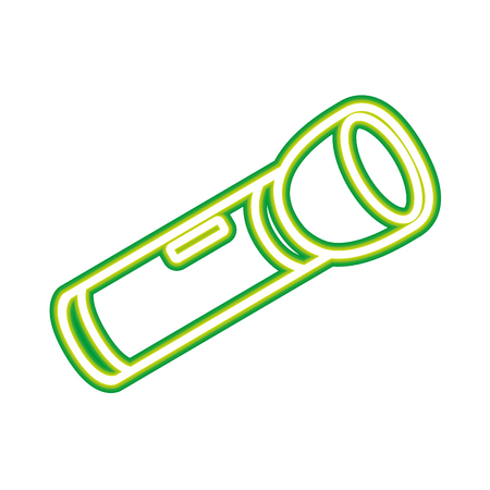 flashlight equipment on white background vector illustration neon design
