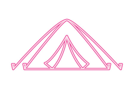 tent camping on white background vector illustration neon design