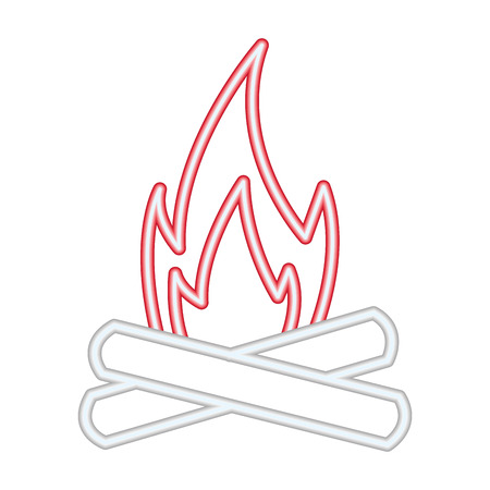 bonfire flame on white background vector illustration neon design