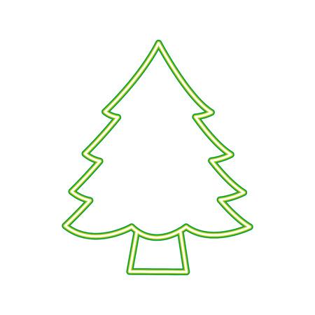 pine tree on white background vector illustration neon design Standard-Bild - 112720374