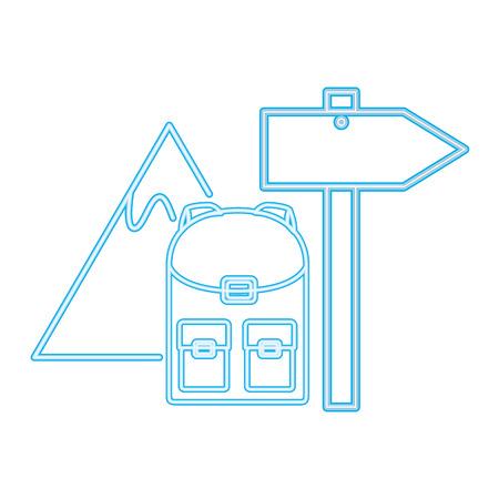 backpack mountain signal guide neon vector illustration Stock Illustratie