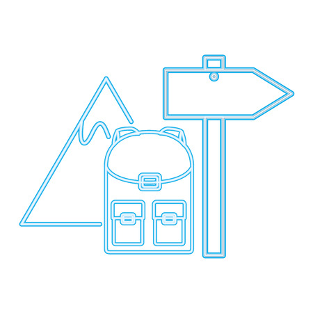 backpack mountain signal guide neon vector illustration Illustration