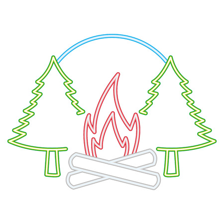 campfire pine trees forest neon vector illustration Illustration