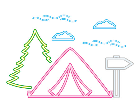 tent forest and guide signal camping neon  vector illustration Çizim