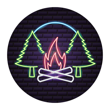 campfire pine trees forest neon vector illustration Stock Vector - 112720375