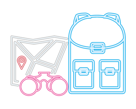 backpack and binoculars map camping neon vector illustration Stock Illustratie