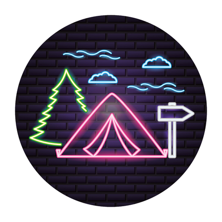 tent forest and guide signal camping neon  vector illustration 일러스트