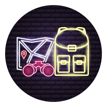 backpack and binoculars map camping neon vector illustration 向量圖像