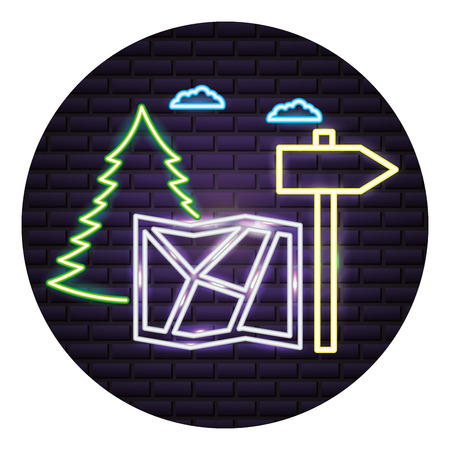 map guide signal forest camping neon vector illustration