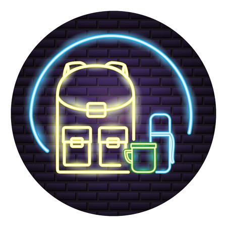 backpack and cup camping neon vector illustration Ilustração