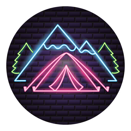 mountains forest and bonfire camping neon  vector illustration