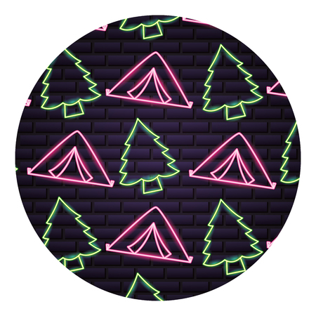 tent and pine tree neon camping pattern vector illustration Banque d'images - 127353908