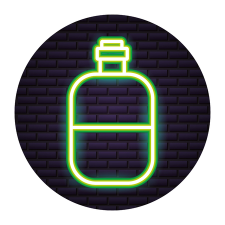 water bottle travel neon brick wall vector illustration