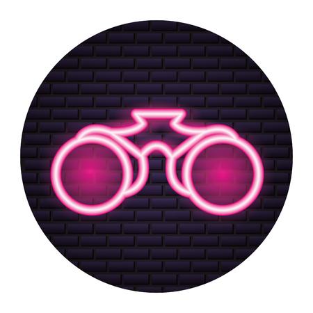 binoculars object neon brick wall vector illustration Illustration