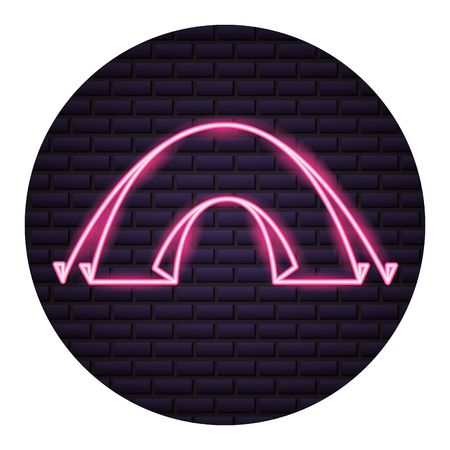 tent camping neon brick wall vector illustration
