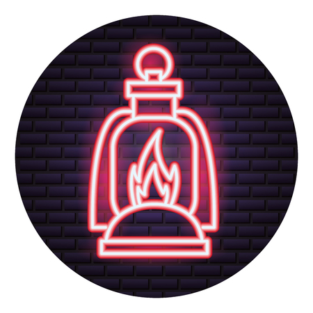 burning lantern neon brick wall vector illustration