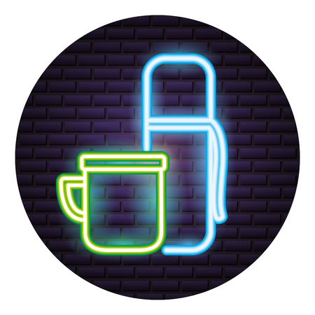 bottle and cup neon brick wall vector illustration