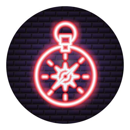 compass tool neon brick wall vector illustration Ilustrace