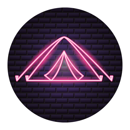 tent camping neon brick wall vector illustration