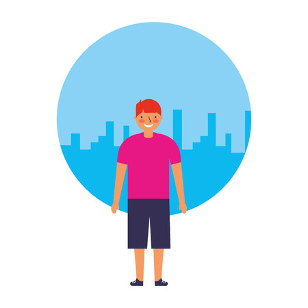 young boy standing with city background vector illustration