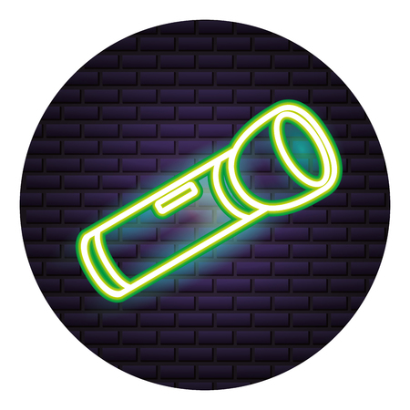 flashlight equipment neon brick wall vector illustration
