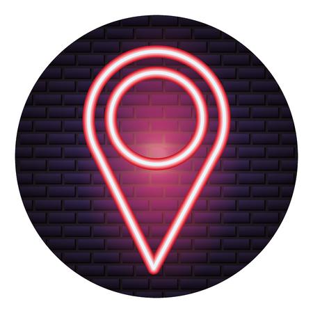pointer map location neon brick wall vector illustration