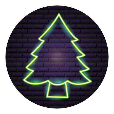 pine tree neon brick wall vector illustration