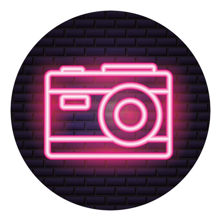 photography camera neon brick wall vector illustration Illustration