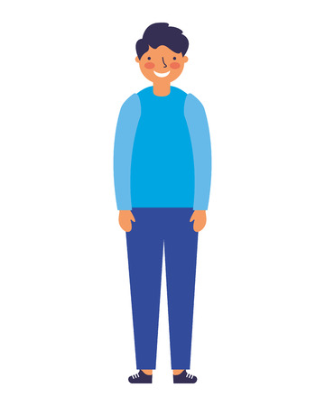 young boy standing on white background vector illustration