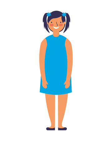young girl standing on white background vector illustration 向量圖像