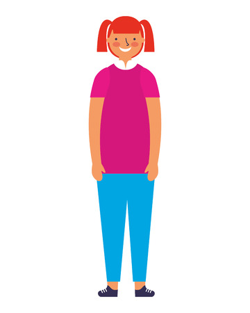 young girl standing on white background vector illustration Иллюстрация