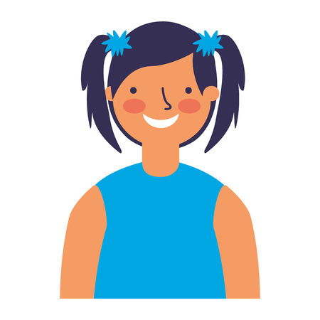 portrait smiling girl young character vector illustration