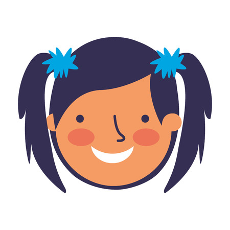 happy young girl face character vector illustration