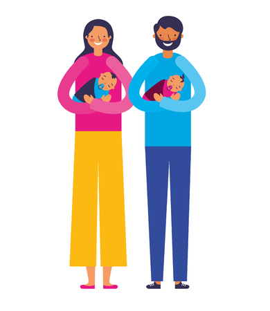 parents carrying her babies son and daughter vector illustration