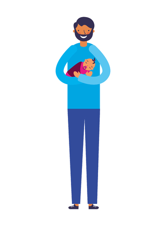 father carrying a her baby girl vector illustration