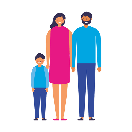 family parents and son together vector illustration