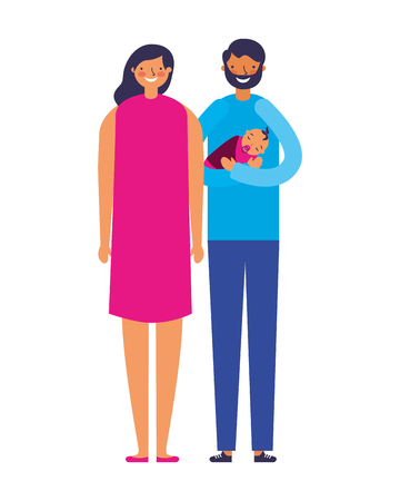 parents carrying her baby daughter vector illustration