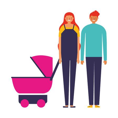 parents with baby pram family vector illustration Standard-Bild - 112720801