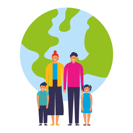family parents and kids together world vector illustration
