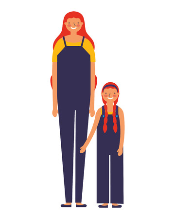 family happy mother and daughter vector illustration Standard-Bild - 112720803