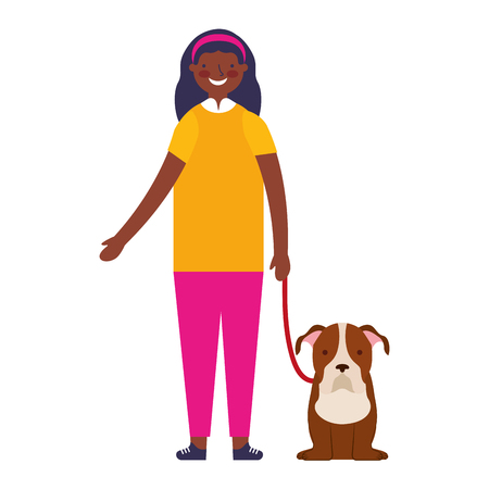 happy girl with her pet dog vector illustration