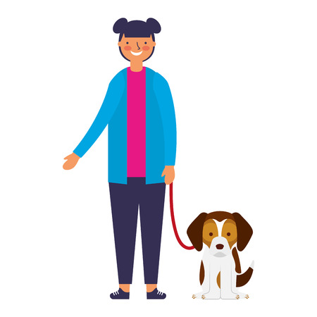 happy girl with her pet dog vector illustration 스톡 콘텐츠 - 127315656
