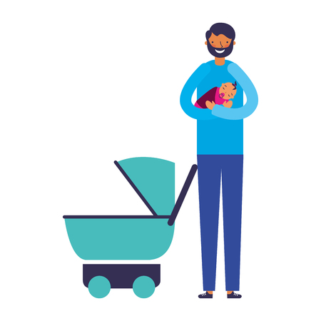 father carrying her baby girl and stroller vector illustration