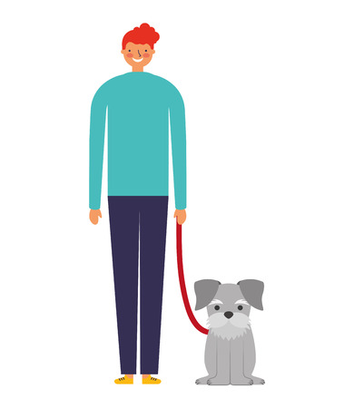 happy man with her pet dog vector illustration